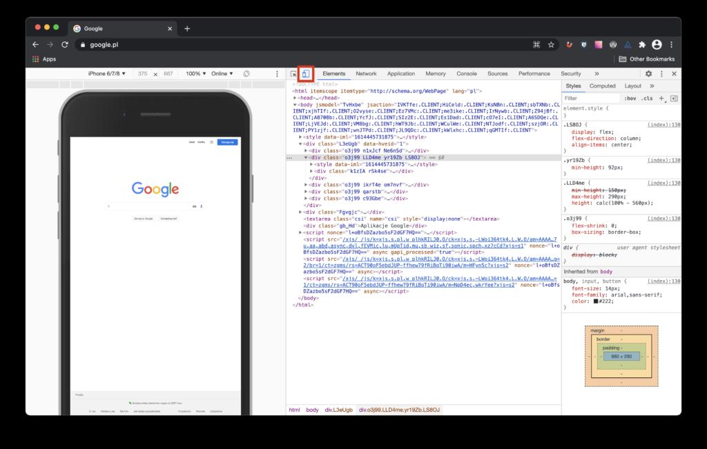 Obrazek pokazuje podkreśloną zakładkę device toolbar