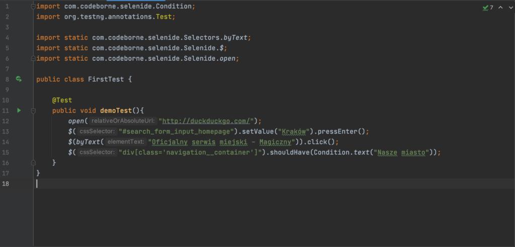 Test w Selenide, kod wykonania testu.